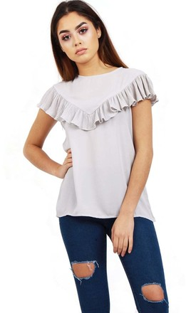 Silver Grey Pleated Ruffle Cap Sleeve Top by Urban Mist