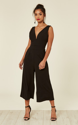 Black Plunge Neck Culottes by WalG Product photo