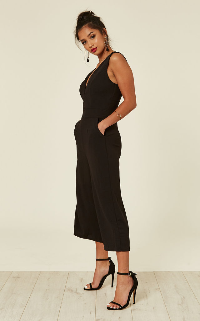 BLACK PLUNGE NECK CULOTTES by WalG