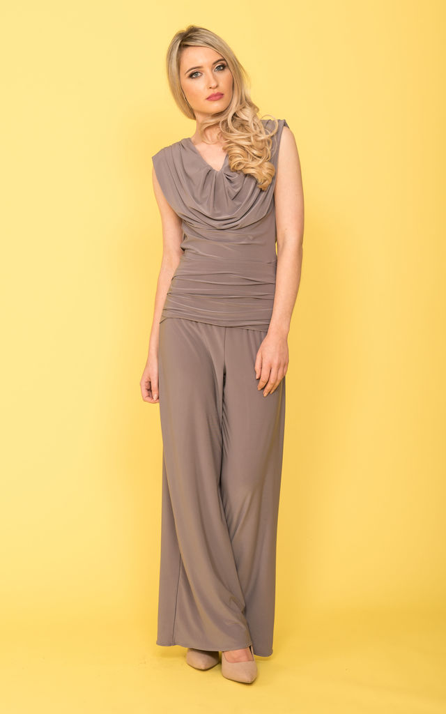 Grey Plunge Back Jumpsuit - Radium by ATOM LABEL