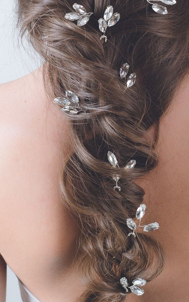 Oval silver crystal wedding hair pin bridal clip by Kate Coleman