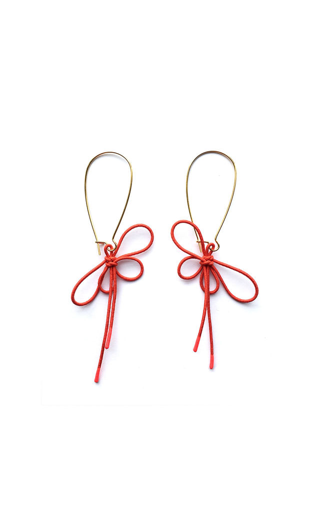 Insect Bow Drop Earrings in Red by U . Urska Hvalica