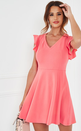 Coral Knit Crepe Fit & Flare Dress With Ruffle Detail by The Vanity Room Product photo