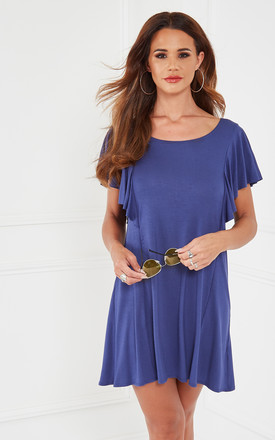 Marine Knit Ruffled Sleeve T Shirt Dress by The Vanity Room Product photo