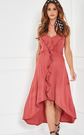 Cognac Woven High Low Dress With Cascading Ruffles by The Vanity Room Product photo