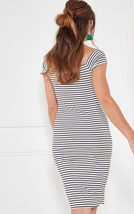 Black And Ivory Stripe Off The Shoulder Dress With Cinch Detail by The Vanity Room