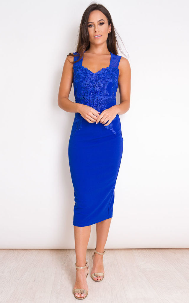 Avia Lace Applique Sleeveless Midi Dress Cobalt by Girl In Mind