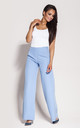 Blue Flared Wide Leg Trousers by Dursi