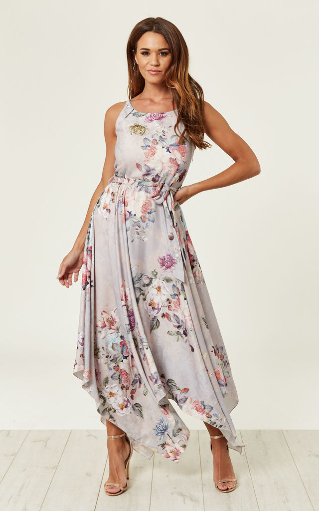 b2ea9b1ec8 Cosmos Floral Printed Maxi Dress (Grey) | Lace & Beads | SilkFred