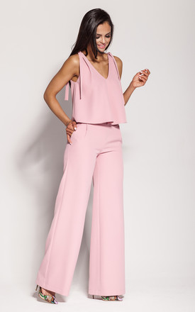 Pink Flared Wide Leg Trousers by Dursi