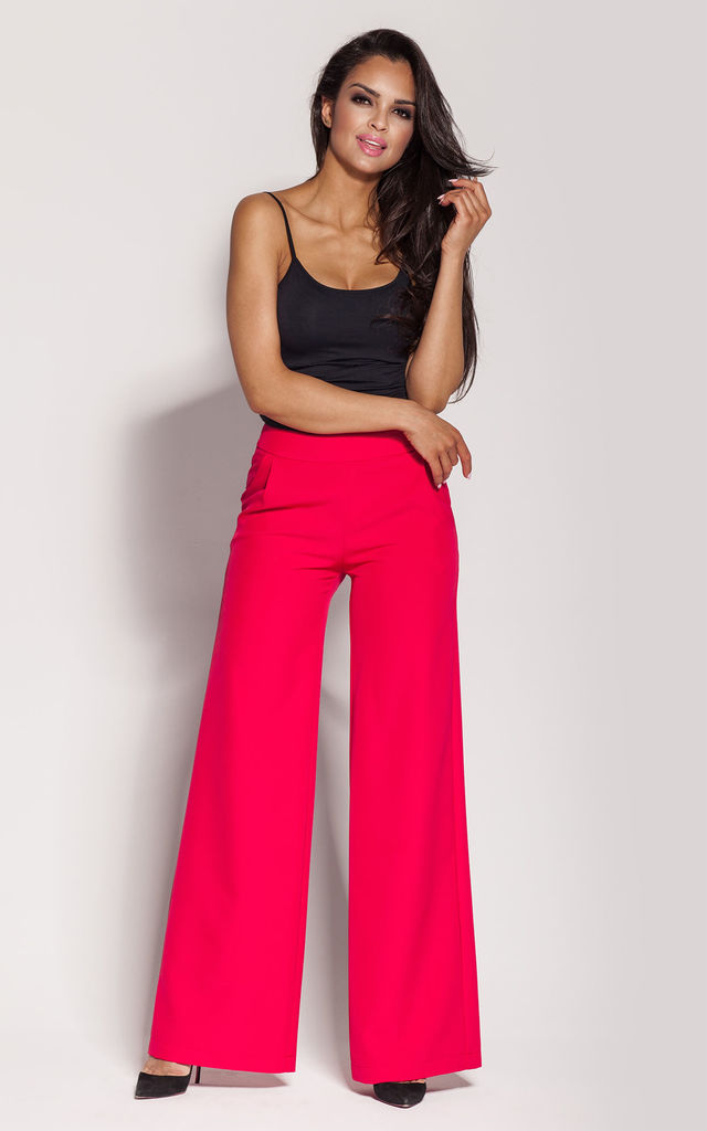 Raspberry Flared Wide Leg Trousers by Dursi