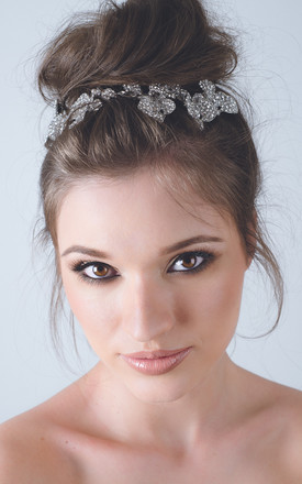 Silver crystal orchid bridal hair comb head piece by Kate Coleman