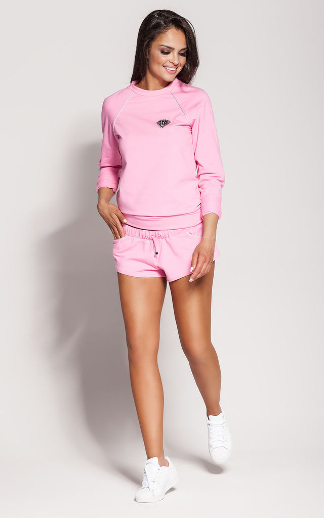 Pink Long Sleeve Top With Silver Inserts by Dursi