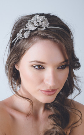 Rose Art Deco bridal crystal headband by Kate Coleman
