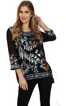 Black Colour Embellished Oversized Top by Urban Mist