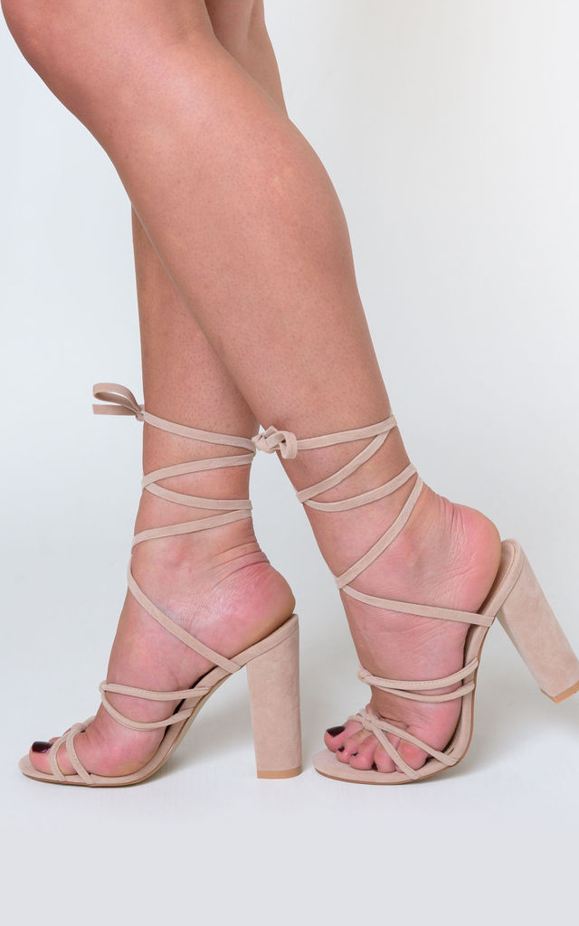 Willow Knot Detail Lace Up Block Heel In Nude Faux Suede by Poised London