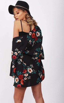 Black Floral Ruffle Sleeve Kimono Summer Holiday Jacket by Urban Mist