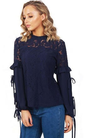 Navy Lace Ruffle Tie Sleeve Blouse Top by Urban Mist