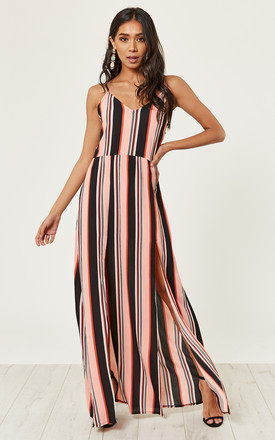 Coral Stripe Cami Split Maxi Dress by MISSI LONDON Product photo
