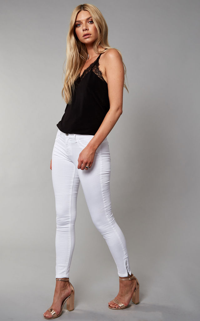 White Mid Waist Skinny Jeans by ONLY