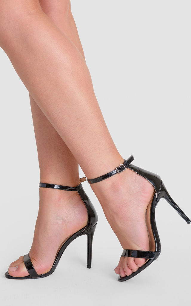 9d39c9394c46 Abigail Two Strap Barely There Heels In Black Patent by Poised London