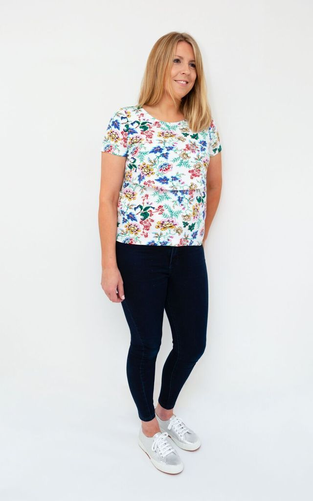 White Floral Breastfeeding Top by Golden B