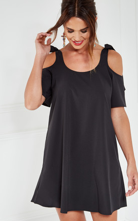 Black Woven Cold Shoulder Swing Dress by The Vanity Room Product photo