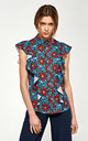 Blouse with short sleeves and ruffles - flowers by so.Nife