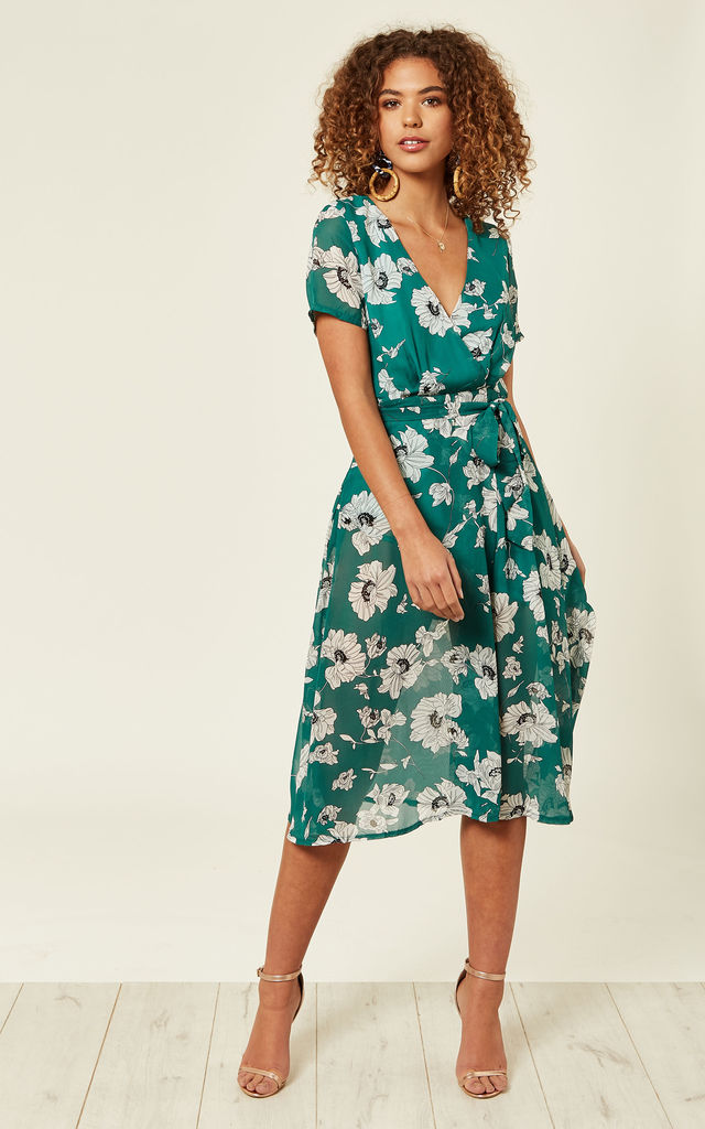 Green Floral Wrap Over Midi Dress by Oeuvre