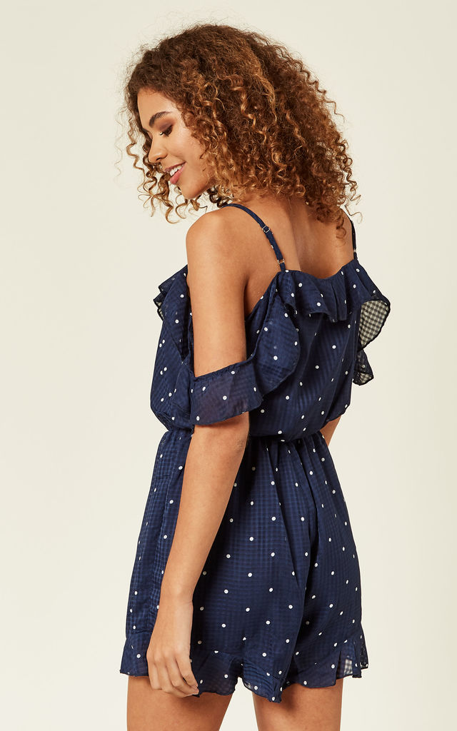 Navy Polka Dot Playsuit by Oeuvre
