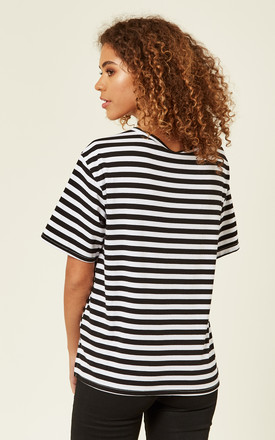 Striped Eyelet Detail Jersey Top by Oeuvre