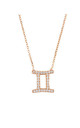Gemini Zodiac Necklace Rose gold by Latelita London