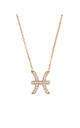 Rose Gold Chain Necklace with Pisces Zodiac Charm by Latelita London