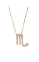 Rose gold Chain Necklace with Scorpio Zodiac Pendant by Latelita London