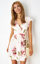 Dolores Floral Wrap Mini Dress In Nude by Frontrow Limited