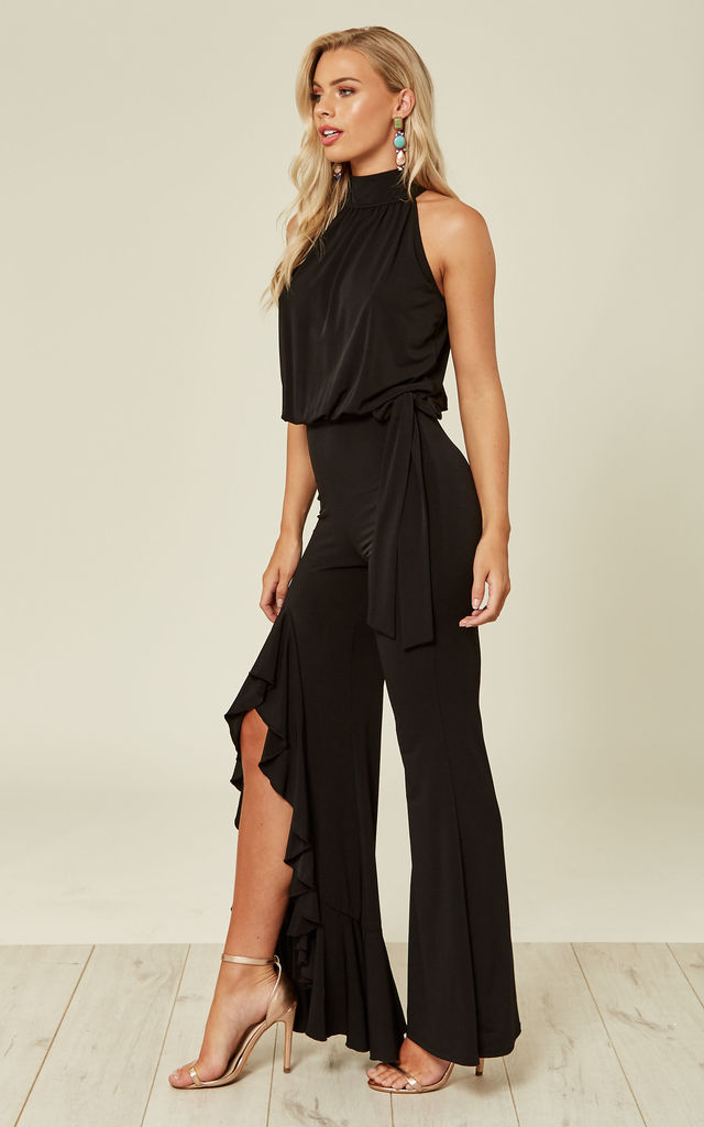 HIGH NECK WIDE LEG JUMPSUIT WITH FRILL IN BLACK by FLOUNCE LONDON