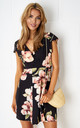 Dolores Floral Wrap Mini Dress In Black by Frontrow Limited
