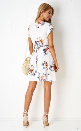 Dolores Floral Wrap Mini Dress In White by Frontrow Limited