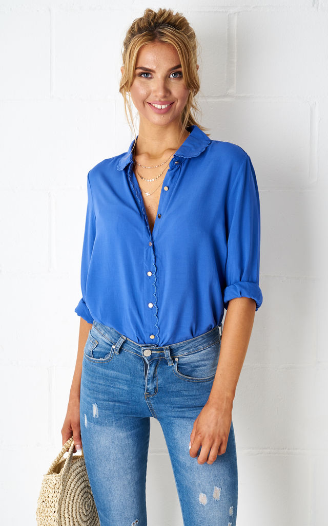 Florya Scalloped Blouse in Blue by Frontrow Limited