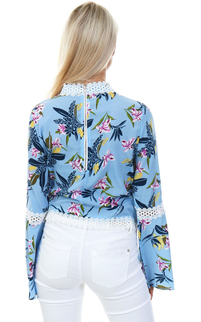 Floral Print Top with Lace Trim - Blue by Cutie London