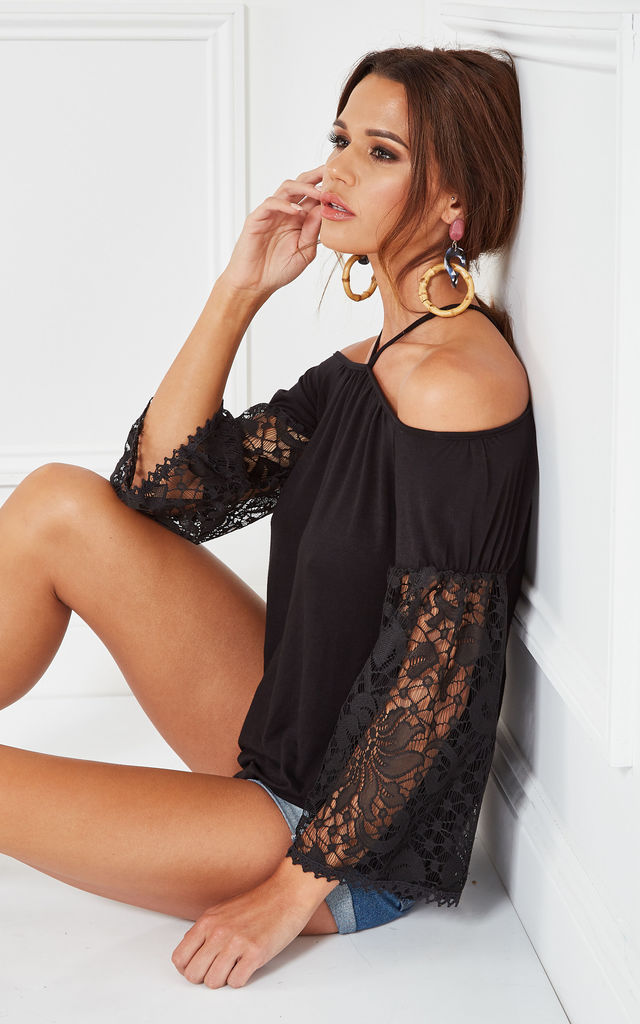 BLACK COLD SHOULDER TOP WITH LACE BELL SLEEVE by The Vanity Room