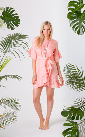 Jagger Coral Wrap Tie Dress by Pranella Product photo