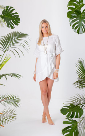 Jagger White Wrap Tie Dress by Pranella Product photo