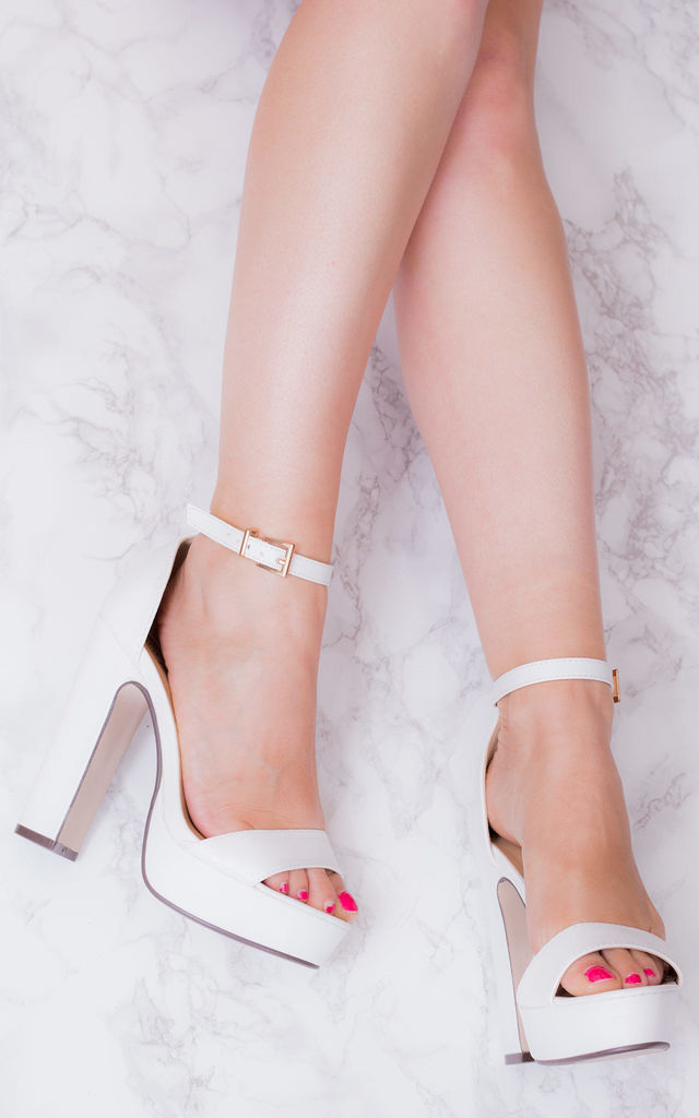 LAURA Platform Block Heel Barely There Sandals Shoes - White Leather Style by SpyLoveBuy