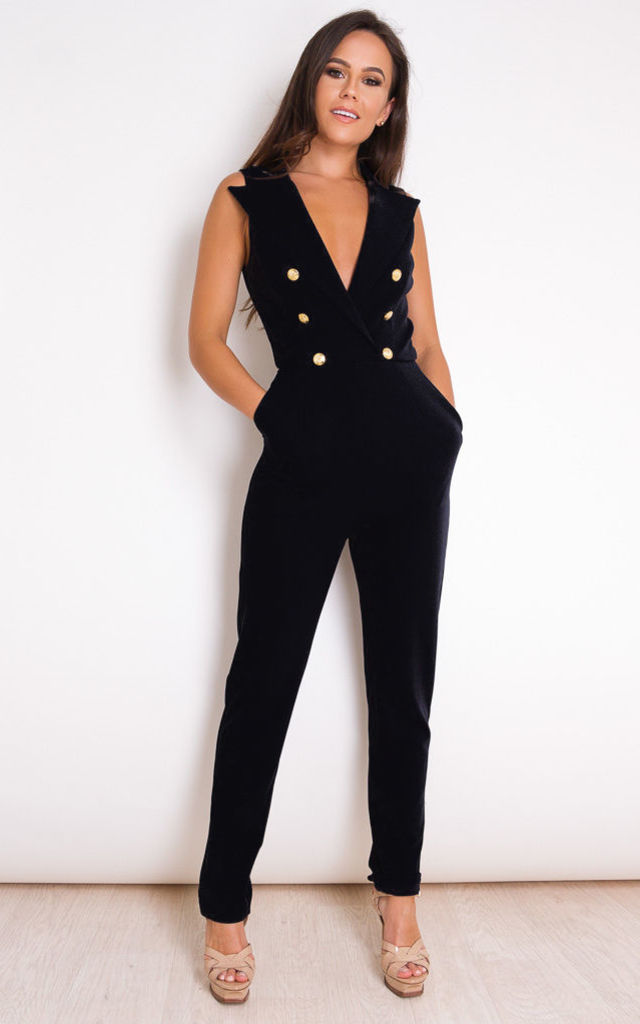 Lydia Tailored Sleeveless Jumpsuit Black by Girl In Mind