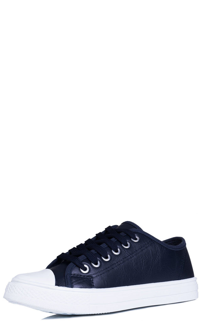 NEVER FEAR Lace Up Flat Trainers Shoes - Blue Leather Style by SpyLoveBuy