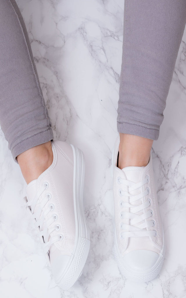 NEVER FEAR Lace Up Flat Trainers Shoes - White Leather Style by SpyLoveBuy