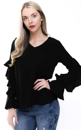 Black Round Neck Ruffle Waterfall Sleeve Blouse Top by Urban Mist