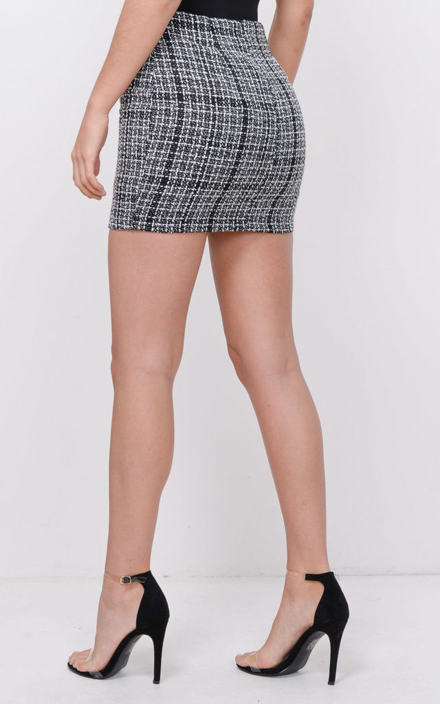 Button Front Check Boucle Tweed Mini Skirt Black by LILY LULU FASHION