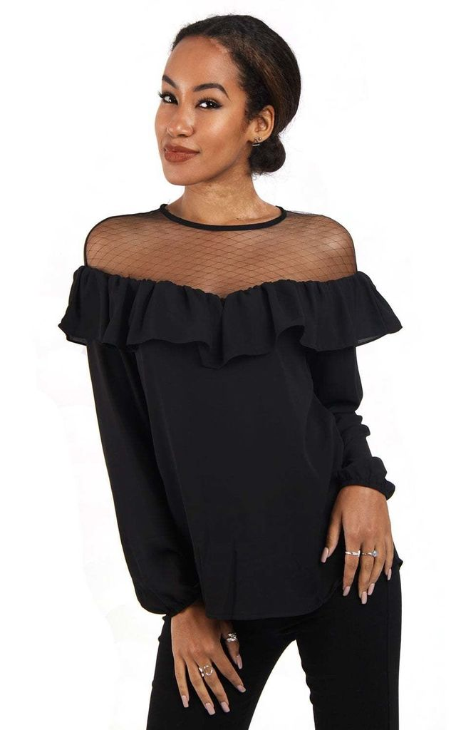 Black Net and Chiffon Ruffle Detail Blouse Top by Urban Mist